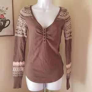 Free people thermal long sleeve scoop neck button